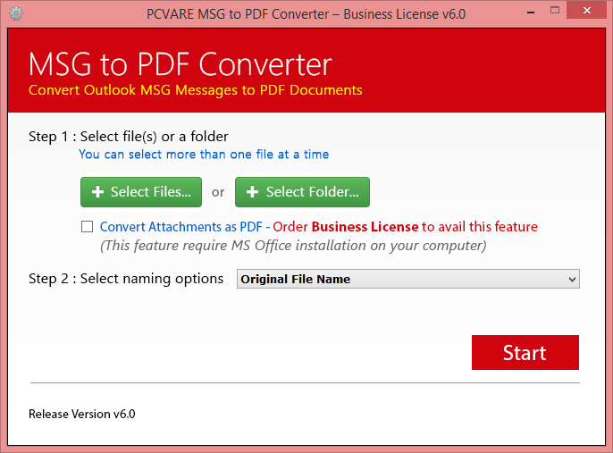 Click to view MSG to PDF Converter 4.08 screenshot